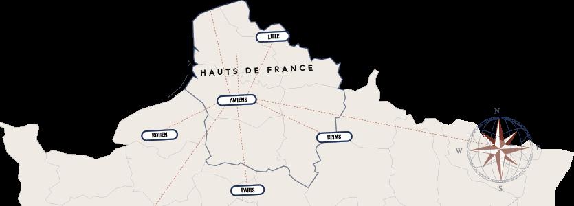 Iminance - Team Building Amiens - Carte Hauts de France - Amiens, Reins, Rouen, Paris et Lille